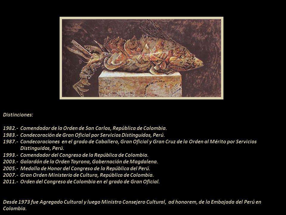 Distinciones: 1982.- Comendador de la Orden de San Carlos, República de Colombia.