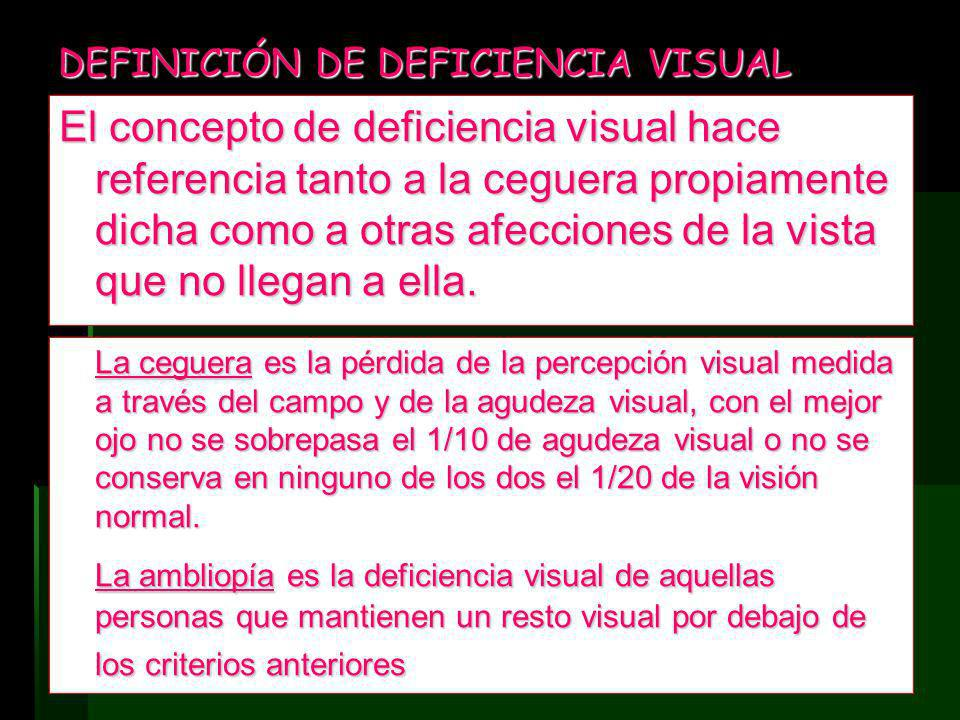 DEFINICIÓN DE DEFICIENCIA VISUAL