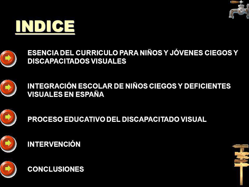 INDICE ESENCIA DEL CURRICULO PARA NIÑOS Y JÓVENES CIEGOS Y DISCAPACITADOS VISUALES.