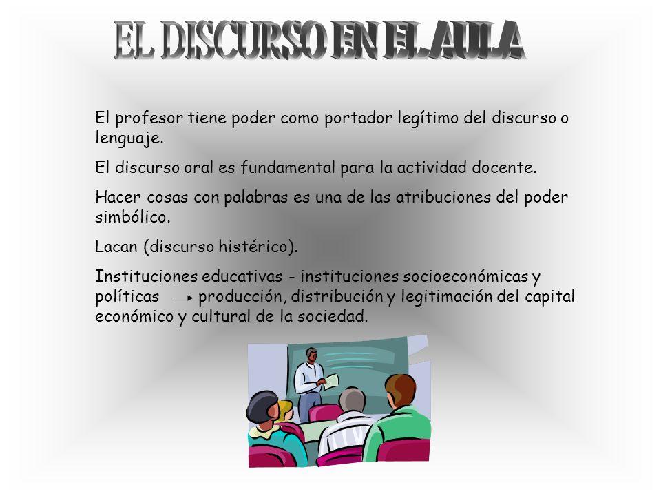 EL DISCURSO EN EL AULA El profesor tiene poder como portador legítimo del discurso o lenguaje.