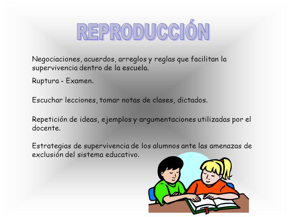 REPRODUCCIÓN Negociaciones, acuerdos, arreglos y reglas que facilitan la supervivencia dentro de la escuela.