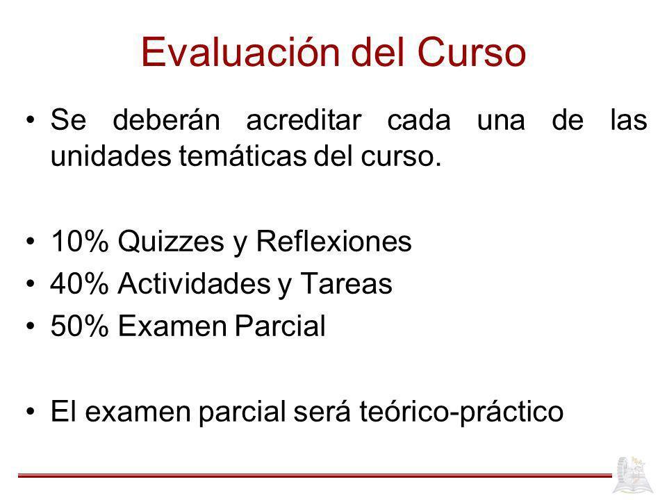 Evaluación del Curso Se deberán acreditar cada una de las unidades temáticas del curso. 10% Quizzes y Reflexiones.