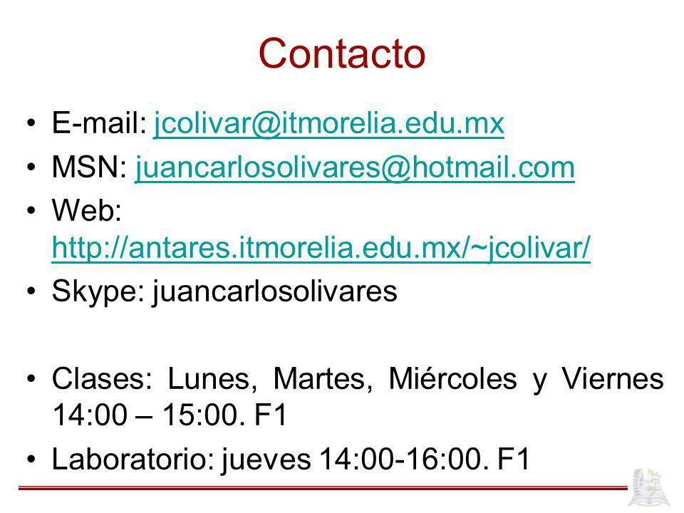 Contacto E-mail: jcolivar@itmorelia.edu.mx