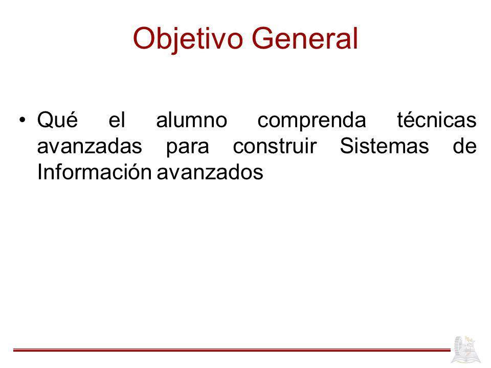 Objetivo General Qué el alumno comprenda técnicas avanzadas para construir Sistemas de Información avanzados.