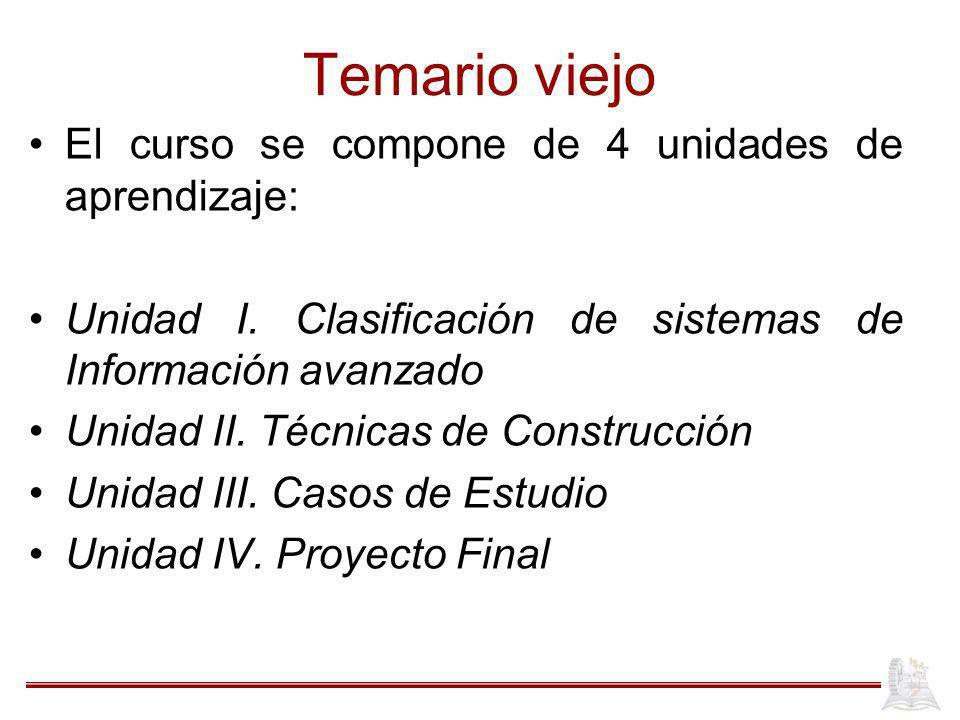 Temario viejo El curso se compone de 4 unidades de aprendizaje: