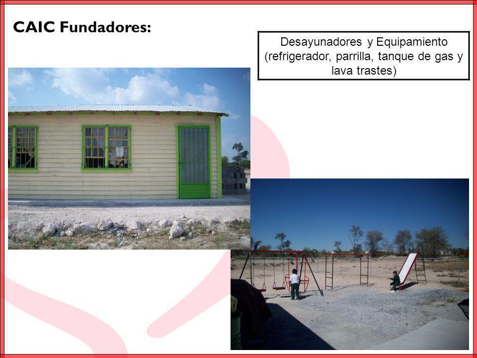 CAIC Fundadores: Desayunadores y Equipamiento (refrigerador, parrilla, tanque de gas y lava trastes)