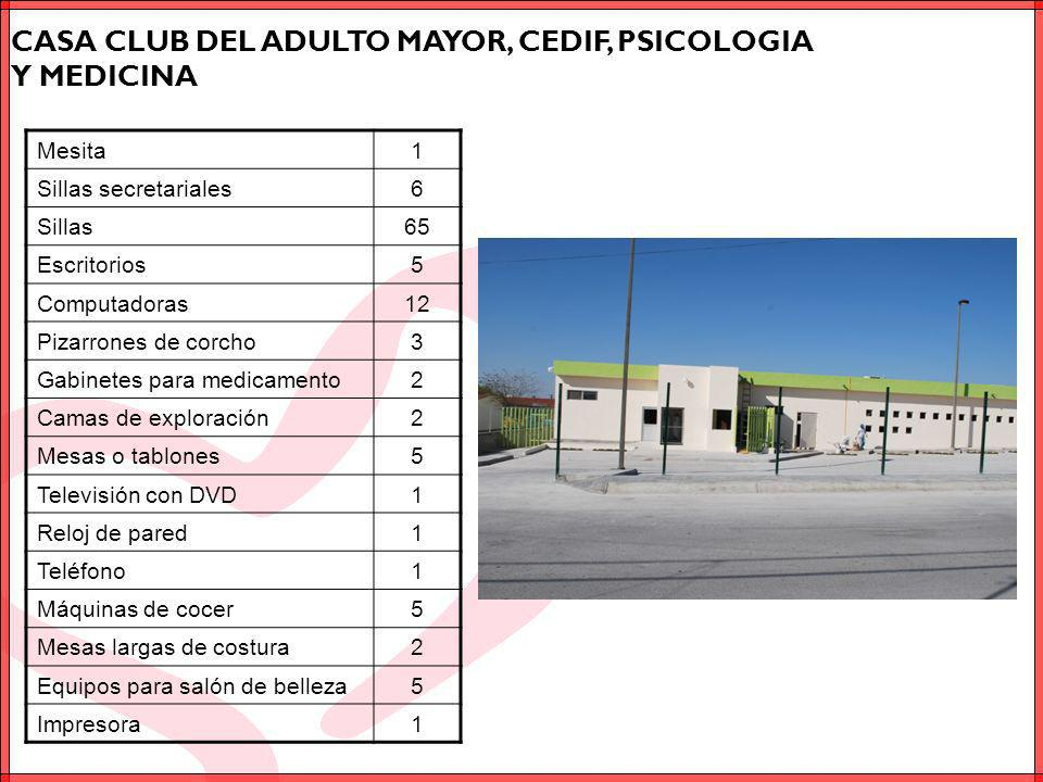 CASA CLUB DEL ADULTO MAYOR, CEDIF, PSICOLOGIA Y MEDICINA