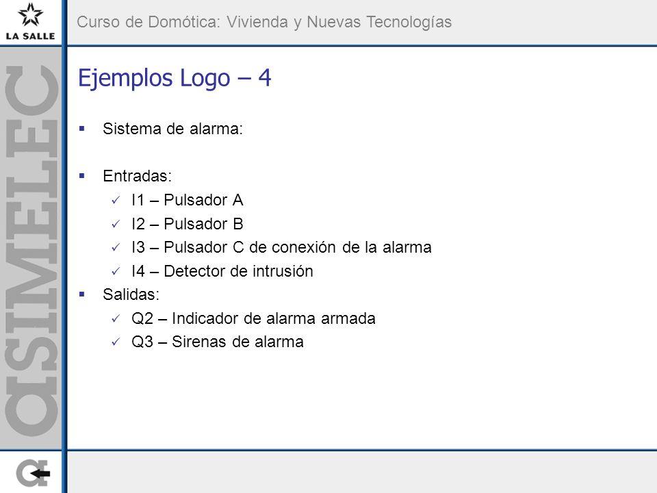 Ejemplos Logo – 4 Sistema de alarma: Entradas: I1 – Pulsador A