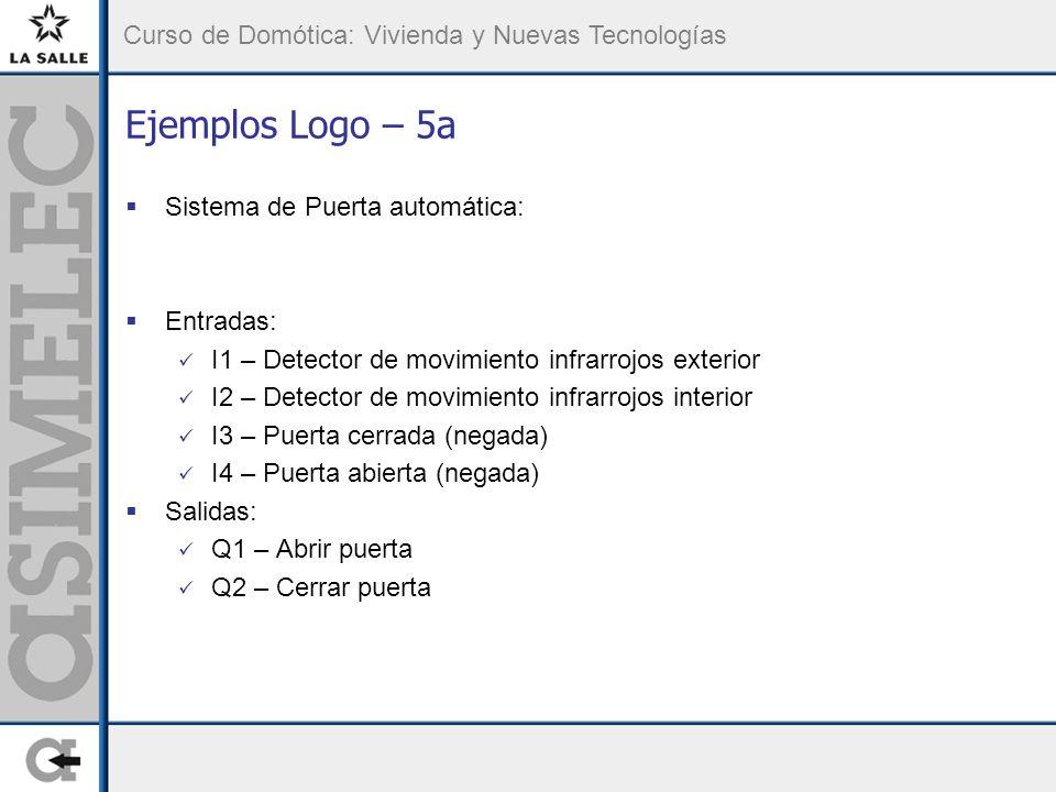 Ejemplos Logo – 5a Sistema de Puerta automática: Entradas: