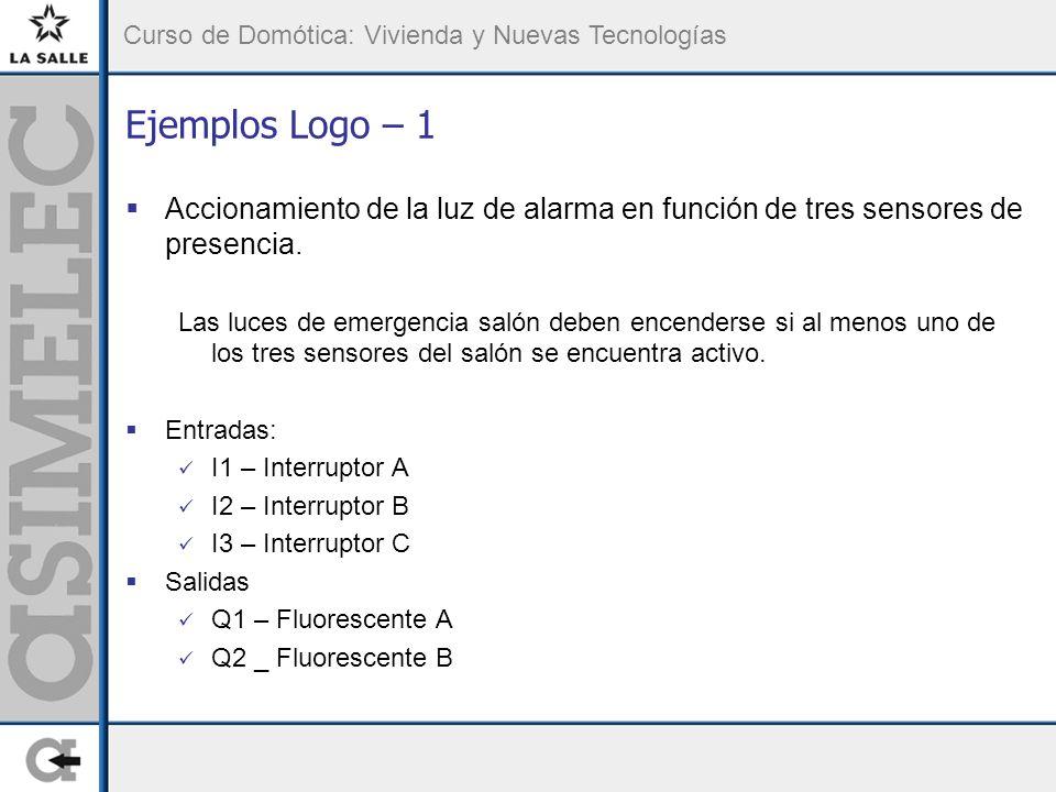 Ejemplos Logo – 1 Accionamiento de la luz de alarma en función de tres sensores de presencia.