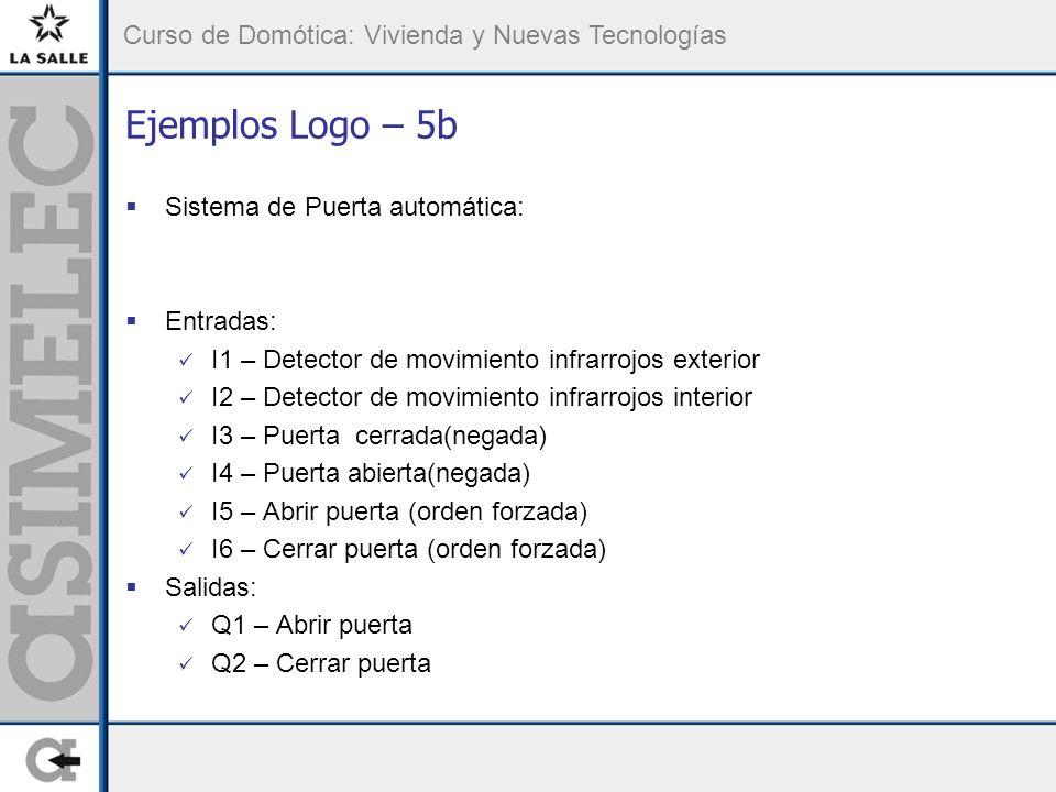 Ejemplos Logo – 5b Sistema de Puerta automática: Entradas: