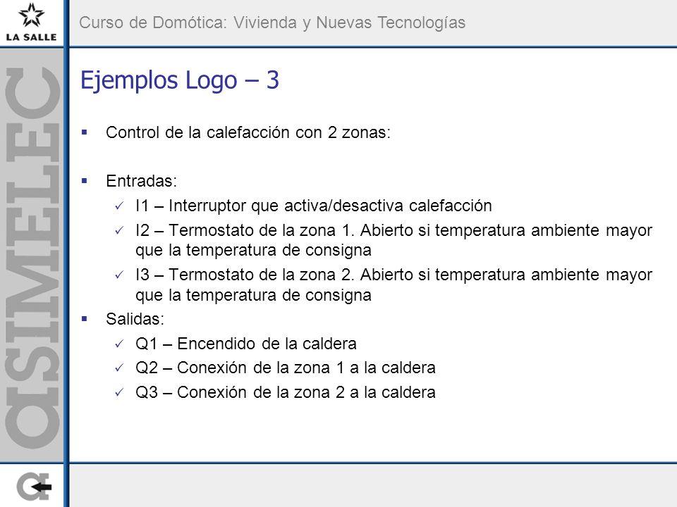 Ejemplos Logo – 3 Control de la calefacción con 2 zonas: Entradas: