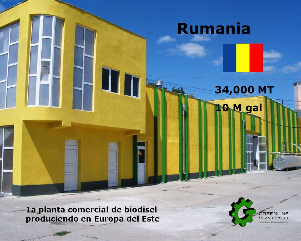 Rumania 34,000 MT. 10 M gal. Greenline has several dedicated representatives in eastern Europe. Opened a new field office in eastern Bucharest.