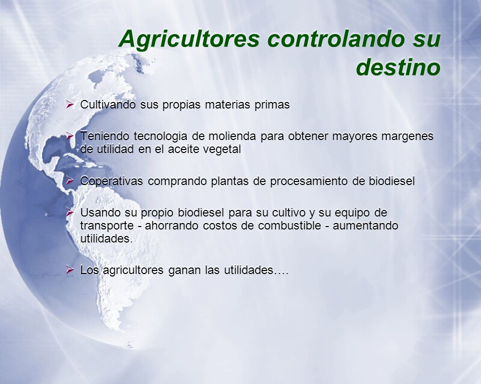 Agricultores controlando su destino