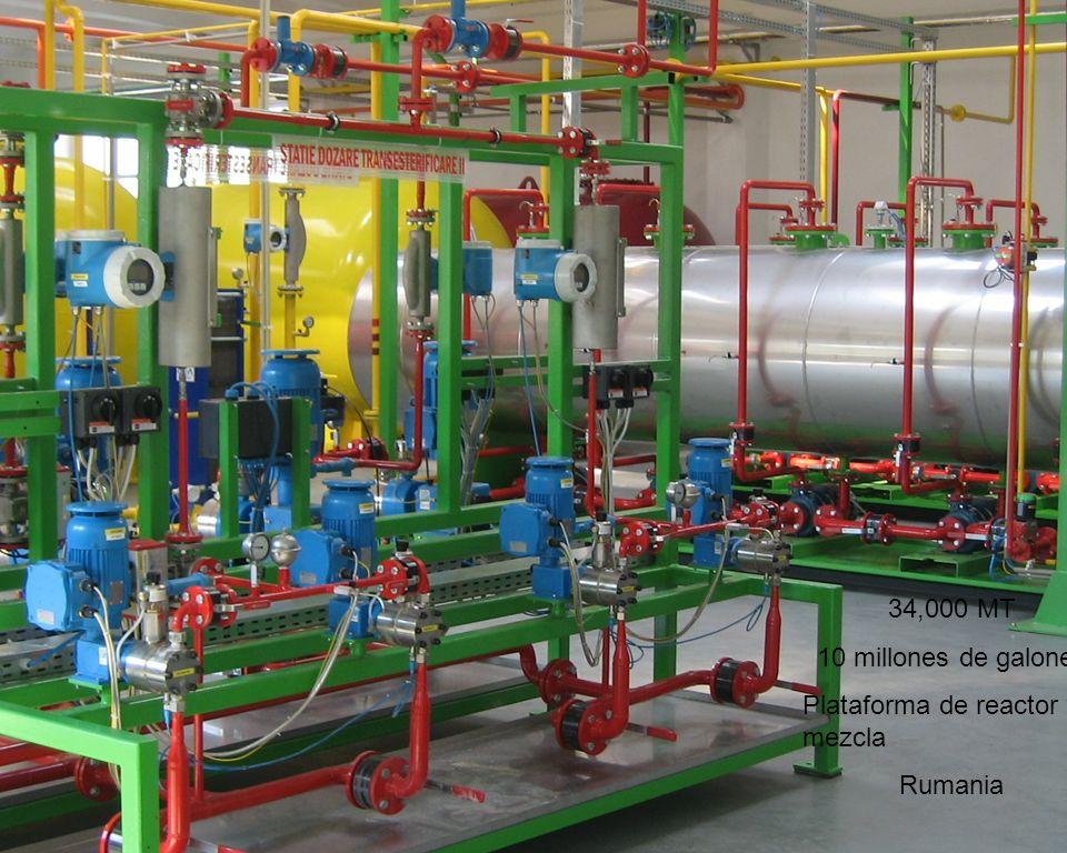 34,000 MT 10 millones de galones Plataforma de reactor y mezcla Rumania