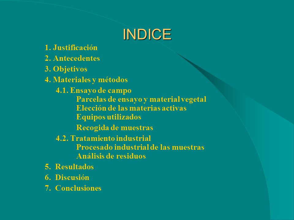 INDICE 1. Justificación 2. Antecedentes 3. Objetivos