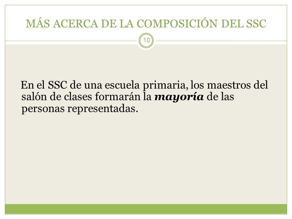 MÁS ACERCA DE LA COMPOSICIÓN DEL SSC