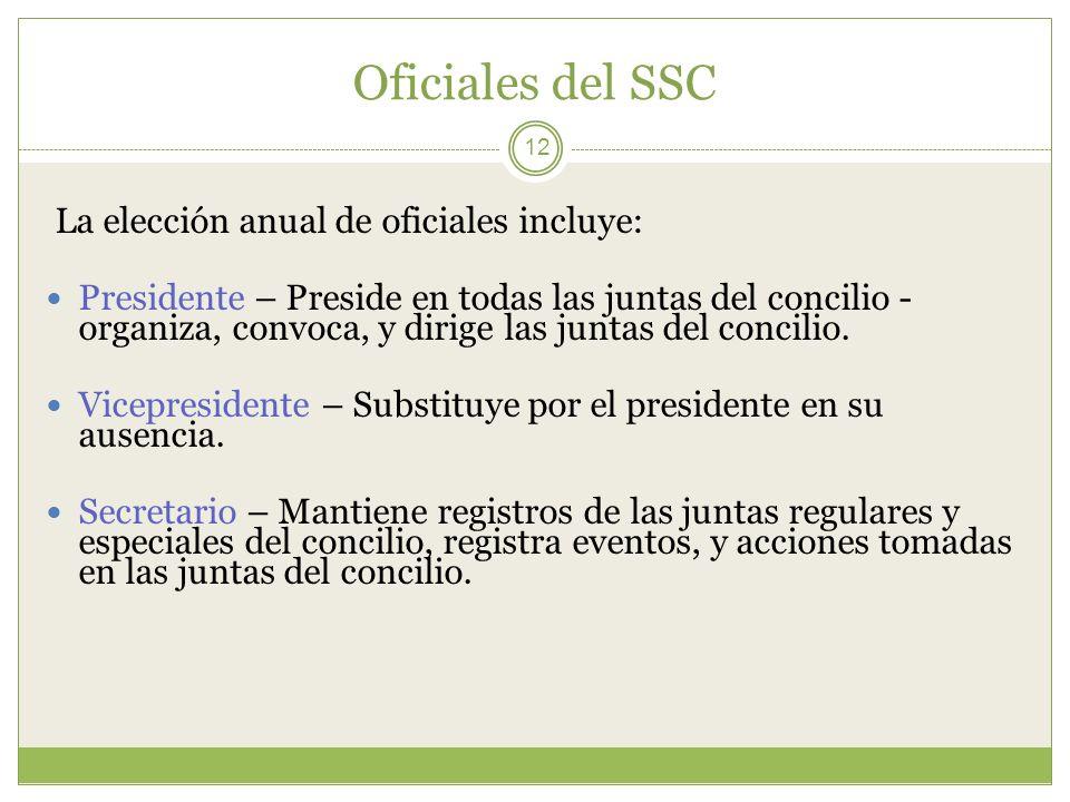 Oficiales del SSC La elección anual de oficiales incluye: