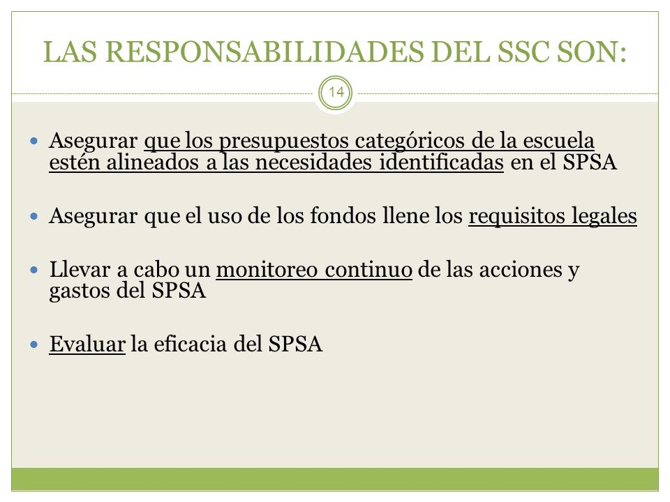 LAS RESPONSABILIDADES DEL SSC SON: