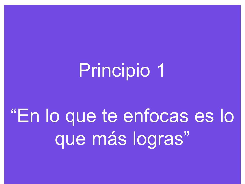 Principio 1 En lo que te enfocas es lo que más logras