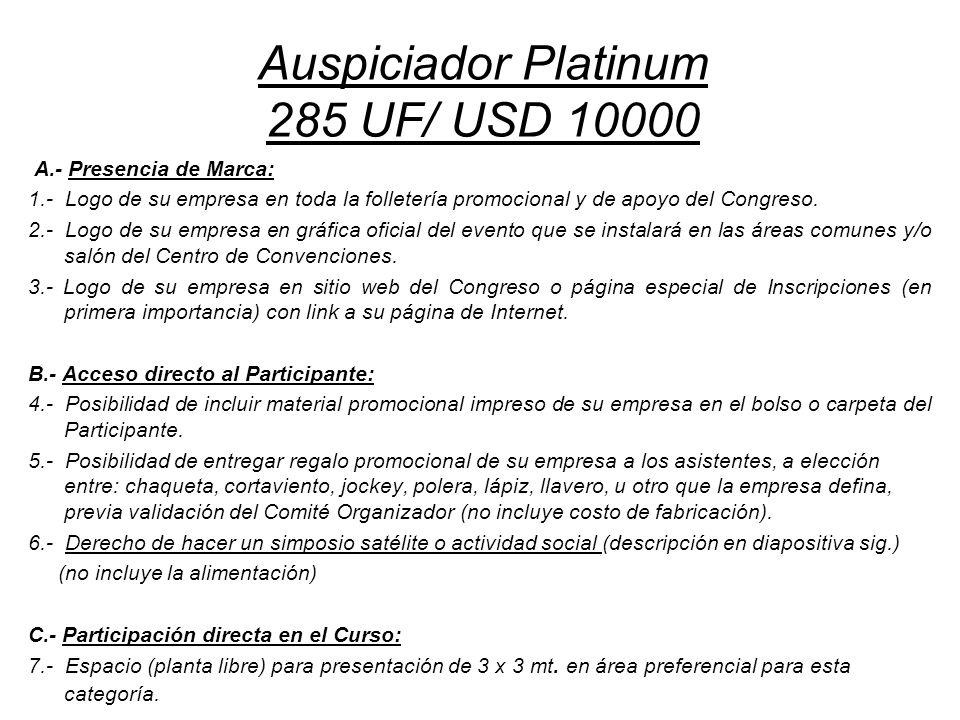 Auspiciador Platinum 285 UF/ USD 10000