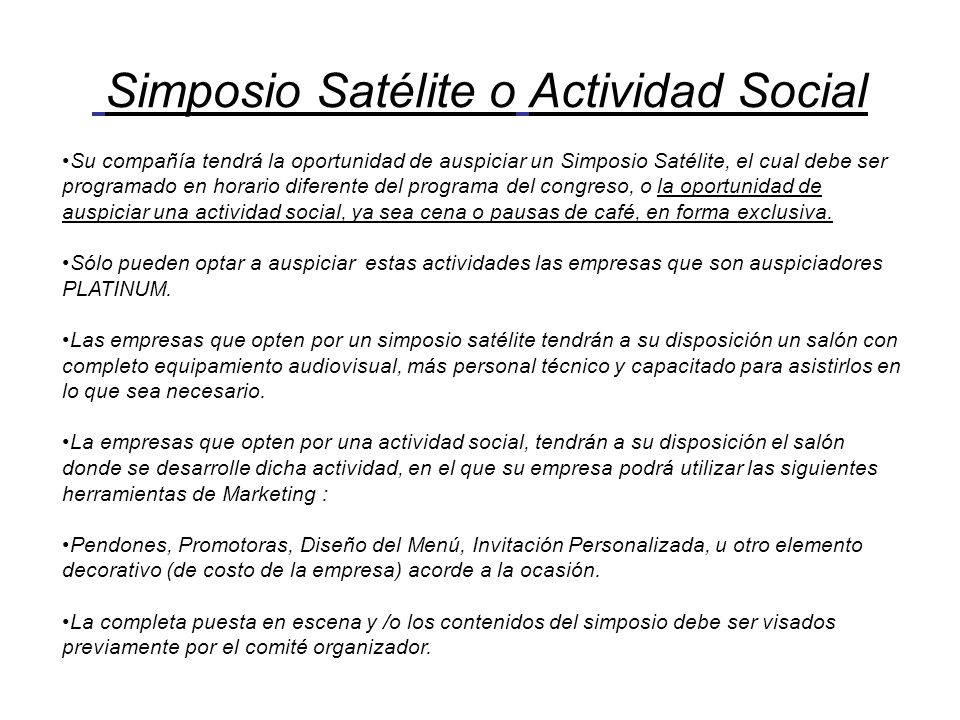 Simposio Satélite o Actividad Social