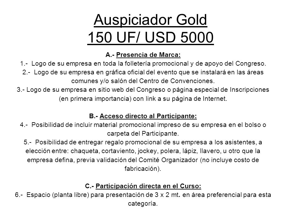 Auspiciador Gold 150 UF/ USD 5000