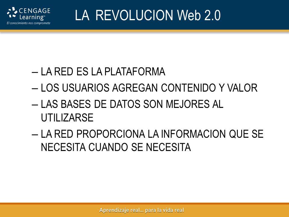 LA REVOLUCION Web 2.0 LA RED ES LA PLATAFORMA