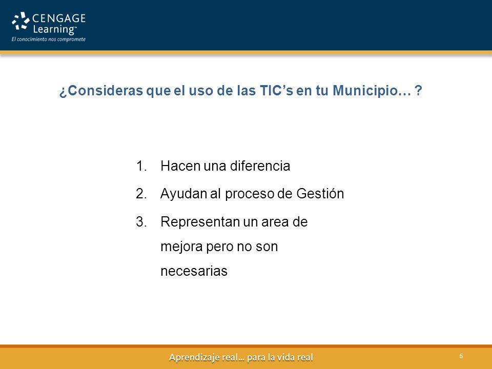 ¿Consideras que el uso de las TIC's en tu Municipio…