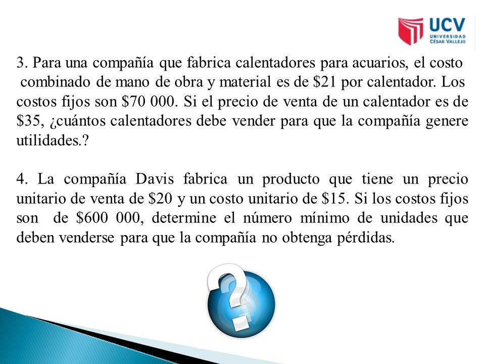 3. Para una compañía que fabrica calentadores para acuarios, el costo