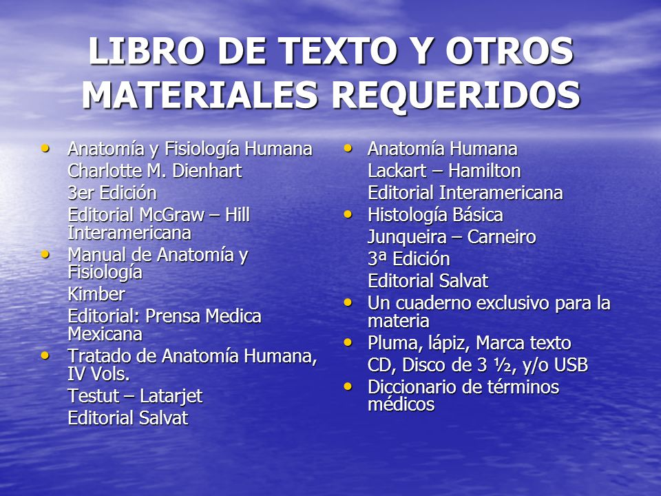 LIBRO DE TEXTO Y OTROS MATERIALES REQUERIDOS