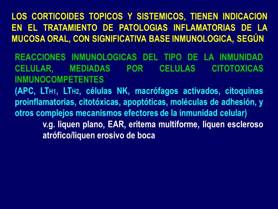 LOS CORTICOIDES TOPICOS Y SISTEMICOS, TIENEN INDICACION EN EL TRATAMIENTO DE PATOLOGIAS INFLAMATORIAS DE LA MUCOSA ORAL, CON SIGNIFICATIVA BASE INMUNOLOGICA, SEGÚN
