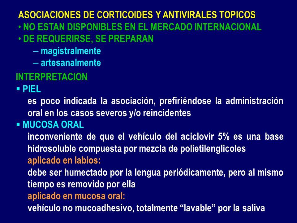 ASOCIACIONES DE CORTICOIDES Y ANTIVIRALES TOPICOS