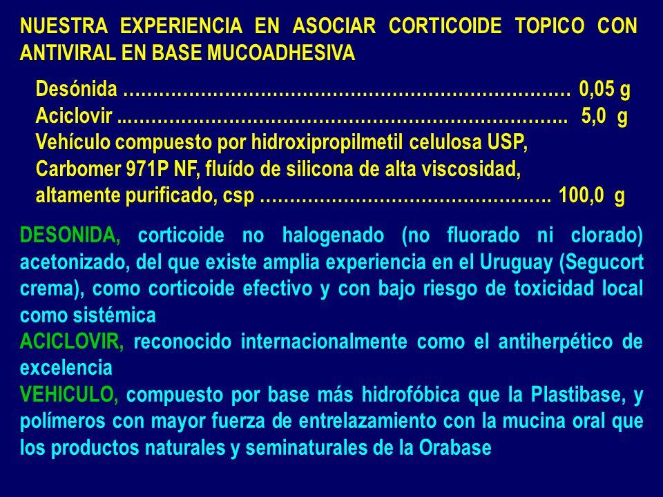 NUESTRA EXPERIENCIA EN ASOCIAR CORTICOIDE TOPICO CON ANTIVIRAL EN BASE MUCOADHESIVA