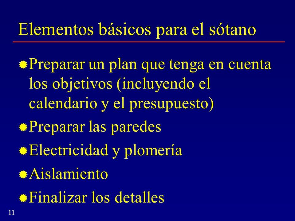 Elementos básicos para el sótano