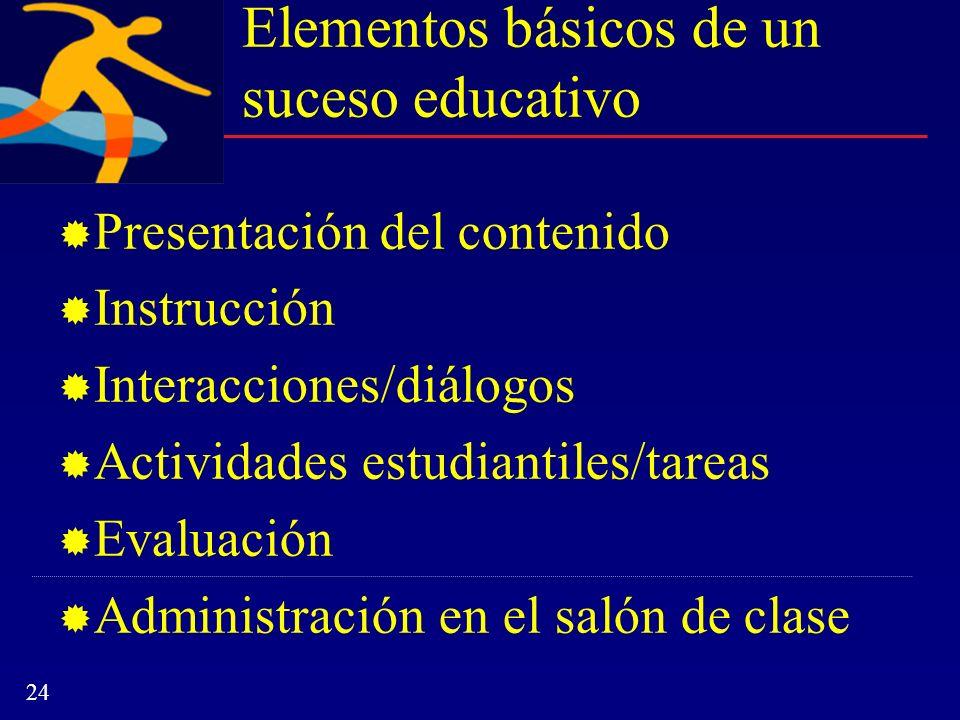 Elementos básicos de un suceso educativo