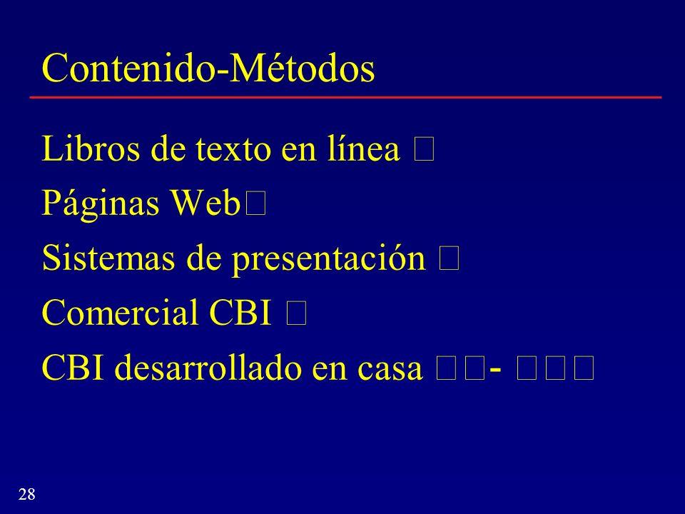 Contenido-Métodos Libros de texto en línea  Páginas Web