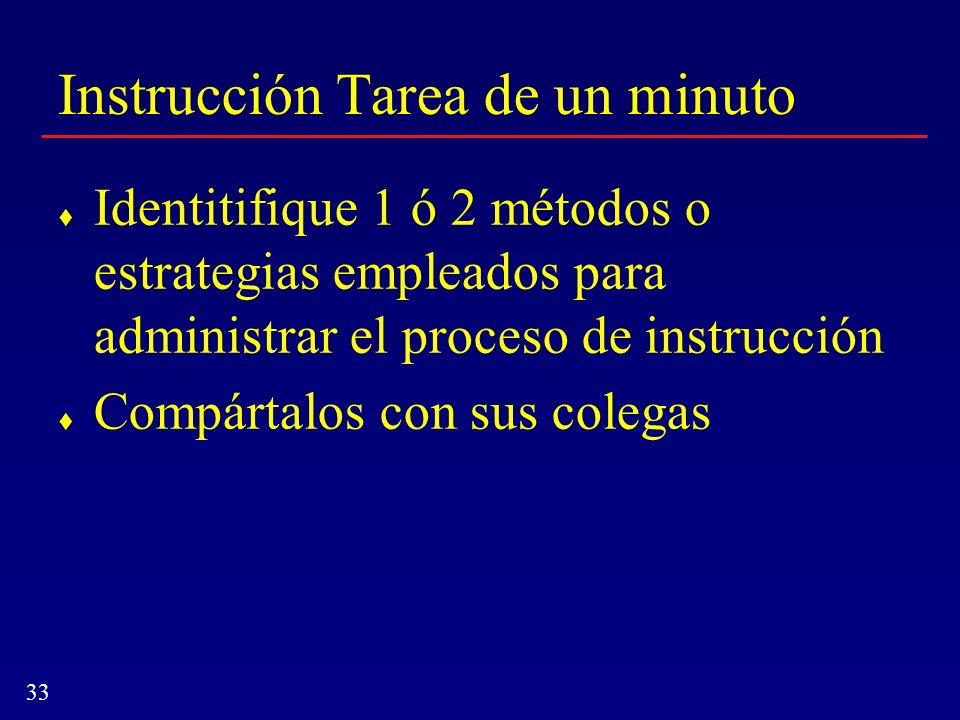 Instrucción Tarea de un minuto