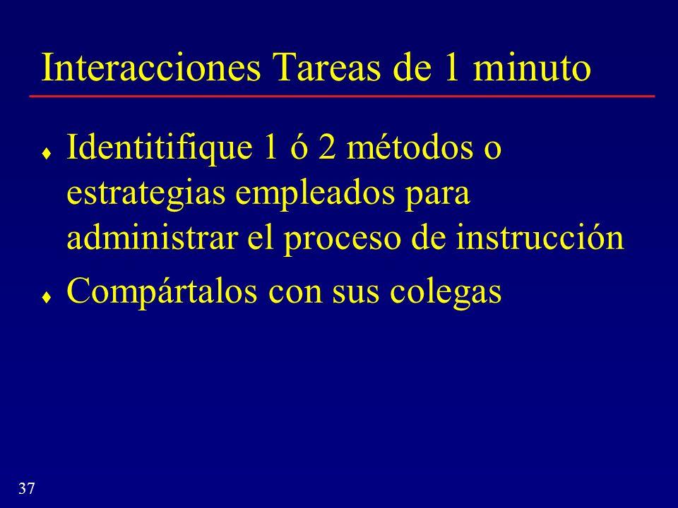 Interacciones Tareas de 1 minuto