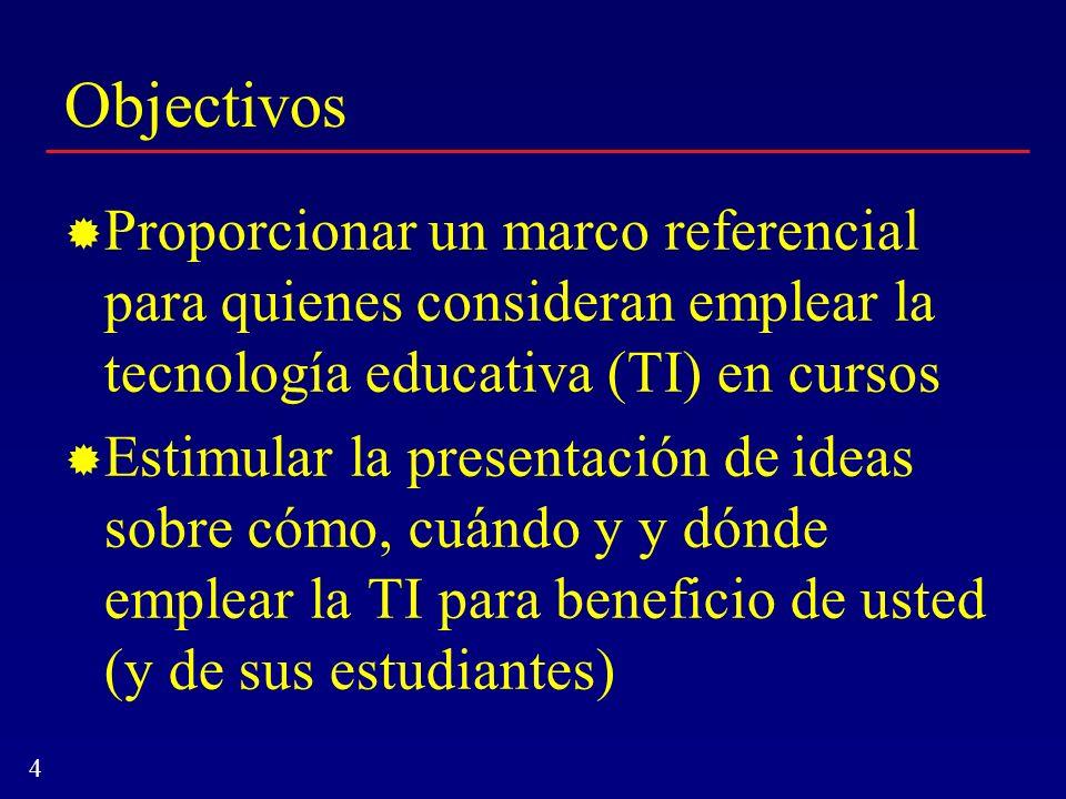 Objectivos Proporcionar un marco referencial para quienes consideran emplear la tecnología educativa (TI) en cursos.