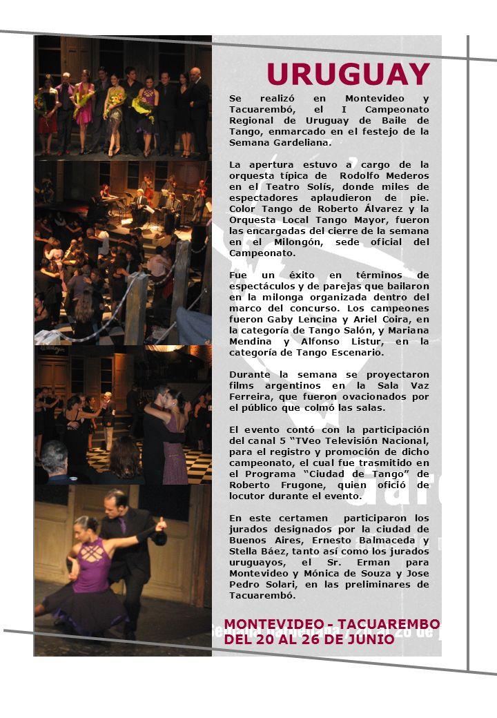 URUGUAY MONTEVIDEO - TACUAREMBO DEL 20 AL 26 DE JUNIO