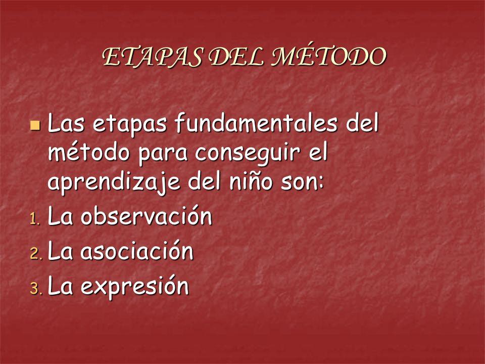ETAPAS DEL MÉTODO Las etapas fundamentales del método para conseguir el aprendizaje del niño son: La observación.
