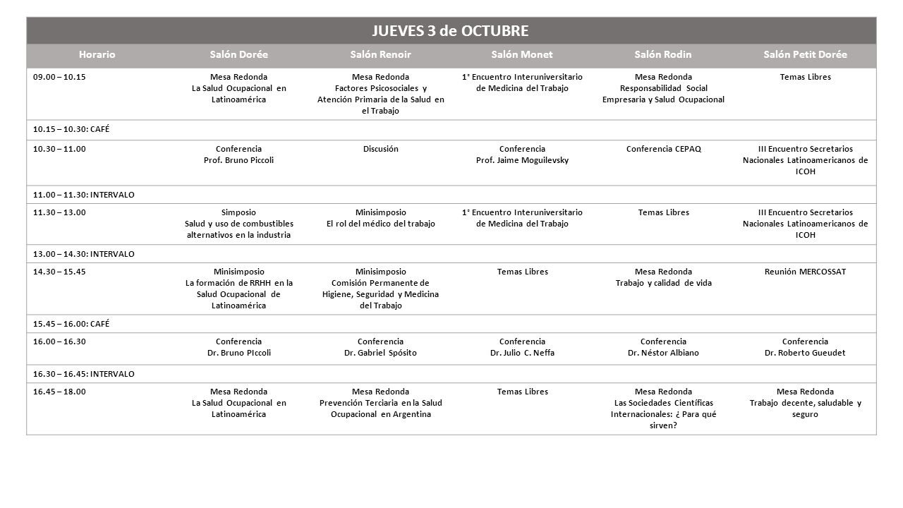 JUEVES 3 de OCTUBRE Horario Salón Dorée Salón Renoir Salón Monet