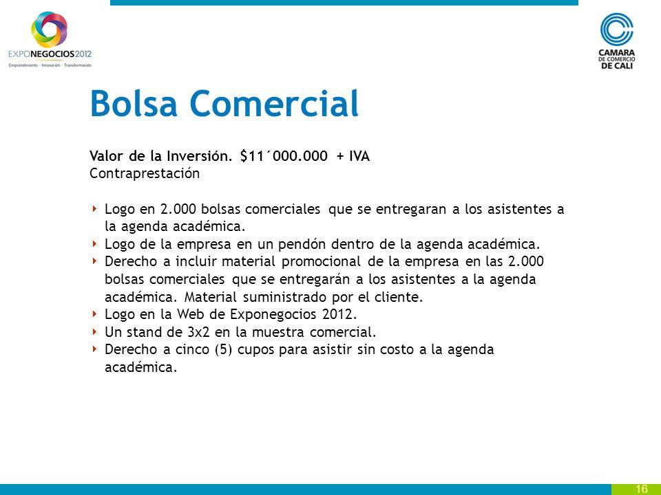 Bolsa Comercial Valor de la Inversión. $11´000.000 + IVA