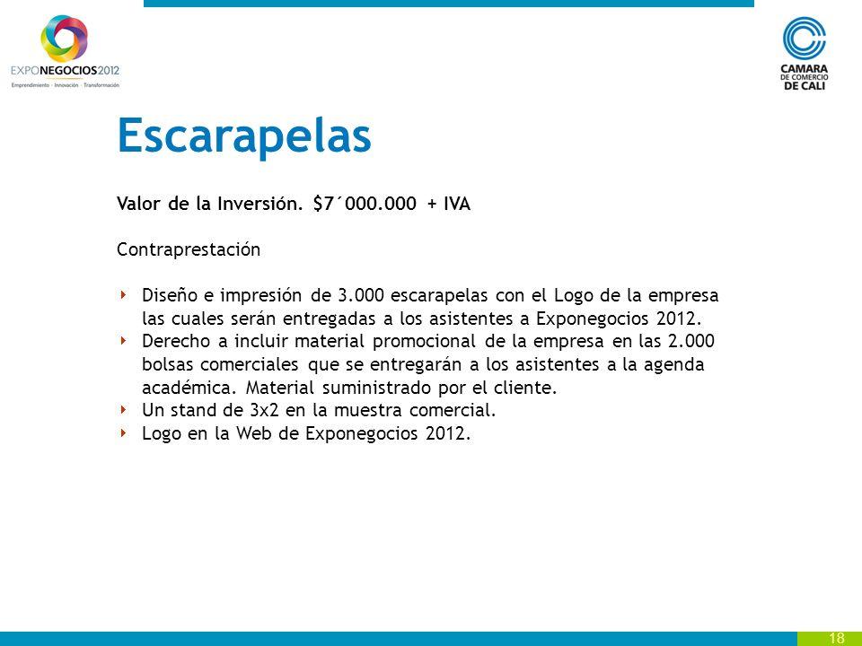 Escarapelas Valor de la Inversión. $7´000.000 + IVA Contraprestación