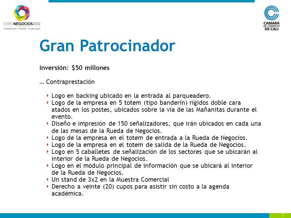 Gran Patrocinador Inversión: $50 millones … Contraprestación