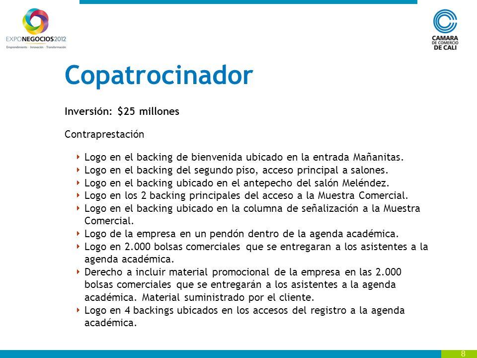Copatrocinador Inversión: $25 millones Contraprestación