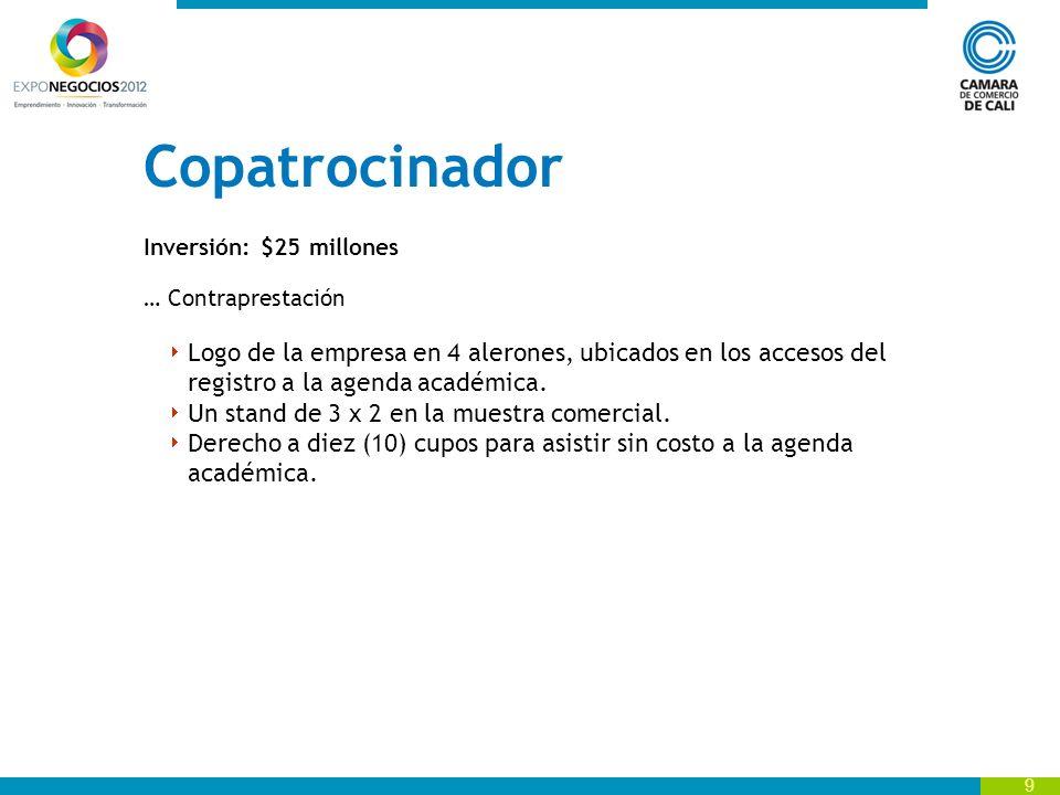 Copatrocinador Inversión: $25 millones. … Contraprestación.