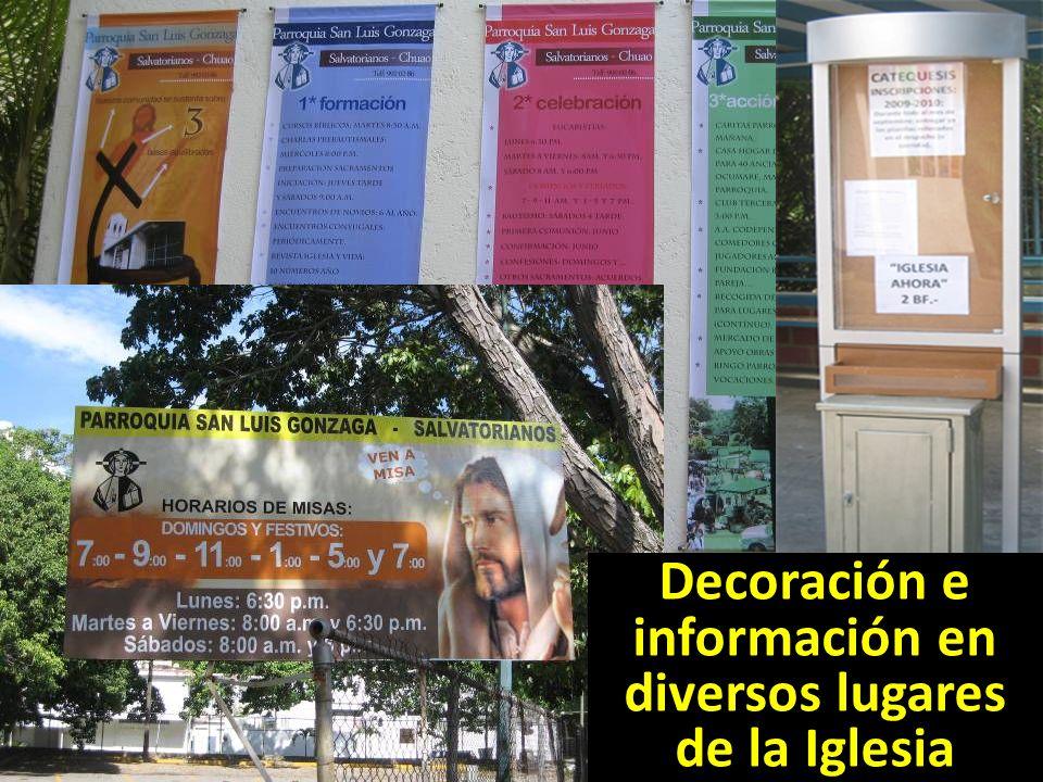Decoración e información en diversos lugares de la Iglesia