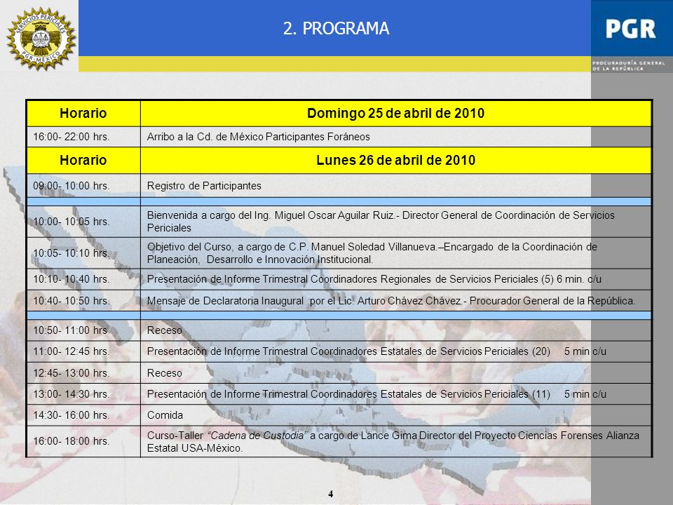 2. PROGRAMA Horario Domingo 25 de abril de 2010